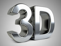 Metallic 3D logo with reflection. Royalty Free Stock Photo