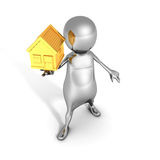 Metallic 3d Man Hold Small Golden House. Real Estate Concept Royalty Free Stock Photography