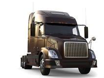 Metallic dark brown modern big semi trailer truck - closeup shot vector illustration