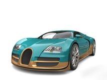 Metallic dark cyan modern super sports car with golden details Royalty Free Stock Photo