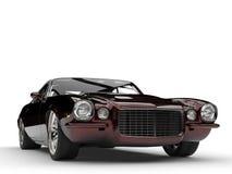 Metallic dark red beautiful vintage American classic car - closeup shot Stock Photography