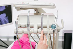 Metallic dentist tools Royalty Free Stock Photos