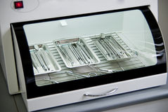Metallic dentist tools close up in a dentist clinic. Closeup Royalty Free Stock Photography
