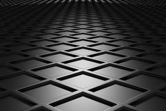 Metallic diamond flooring perspective view in dark Stock Photography