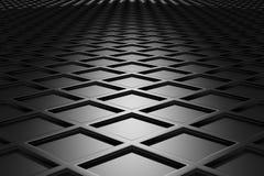 Metallic diamond flooring perspective view in dark. Metallic diamond flooring perspective view  in dark abstract industrial background Stock Photography
