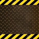 Metallic diamond plate with yellow and black edges Stock Image