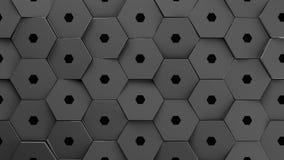 Metallic displaces hexagons background. 3d illustration render Stock Photography