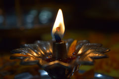 Metallic diya for pooja. Diyas are used as a tradition to praise the gods in india Royalty Free Stock Photo