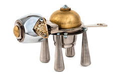 Metallic dog. Cyberpunk style. Bronze and steel parts. Retro royalty free stock photos