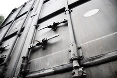 Metallic doors of transport container. High constast Stock Photos