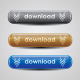 Metallic download button set for website. 3 colours metallic download button set for website Royalty Free Stock Images