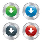Metallic download buttons template set. Royalty Free Stock Image