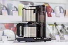 Metallic drip coffee maker Royalty Free Stock Photos