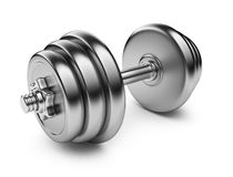 Metallic dumbbell. 3D Icon  Stock Photo