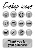 Metallic e-shop buttons set for website, elegant icons with pictogram symbols. Vector EPS 10 Stock Photo