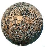 Metallic  Earth. Planet Earth made of metal Stock Image