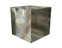 Metallic Earth Cube Royalty Free Stock Photo