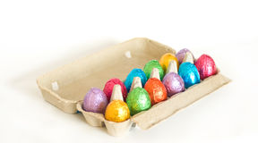 Metallic easter eggs in carton Royalty Free Stock Image