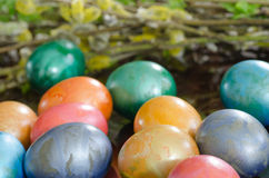 Metallic easter eggs Stock Photos