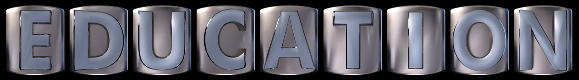 Metallic education word. Metallic blue silver education word realistic 3d rendered on black background Stock Images