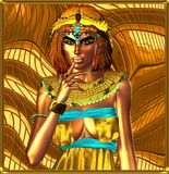 Metallic egyptian queen on abstract background. 