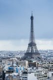 The metallic Eiffel Tower. An amazing view on the metallic Eiffel Tower and Paris City Stock Image