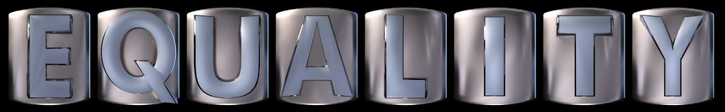 Metallic equality word. Metallic blue silver equality word realistic 3d rendered on black background Stock Photo