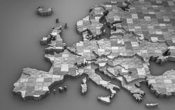 Metallic Europe Map In 3d (2014) Royalty Free Stock Images