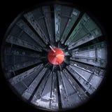 Metallic eye. Tunnel driller resembling a metallic eye Stock Photo