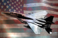 Metallic F15 and US flag. F15 with the U.S. flag, on metallic background giving a grunge aspect Stock Images