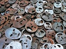 Metallic faces in bronze. Silver smiles in jewish museum Stock Images