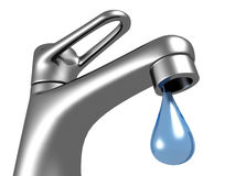 Metallic faucet with blue water drop on white background. 3d Royalty Free Stock Photography