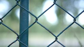 Metallic Fence Around a Protection Area Preventing Access in a Security Zone.  stock video