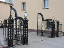 Metallic fence and gate Royalty Free Stock Image