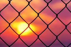 Metallic fence at sunset Royalty Free Stock Photo