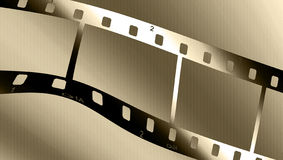 Metallic filmstrip. Chrome metal filmstrip wave on a brown gradient Royalty Free Stock Photography