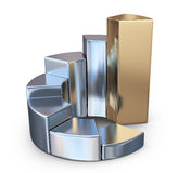 Metallic finance chart, business graph. 3D Icon  Stock Photography