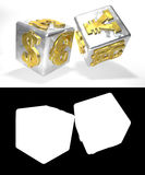 Metallic financial dice on the white background with alfa channel. 3D illustration. Alpha channel Stock Photo