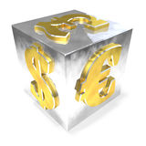 Metallic financial dice on the white background. 3D illustration Stock Images