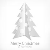 Metallic fir tree on white Stock Photos