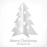 Metallic fir tree on white. Metallic Christmas fir tree on white background, vector illustration Stock Photos