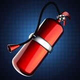 Metallic fire extinguisher on blue background Stock Images