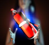 Metallic fire extinguisher on futuristic  hologram Royalty Free Stock Photo