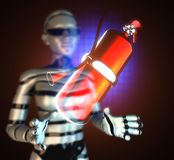 Metallic fire extinguisher on  futuristic hologram Stock Photography