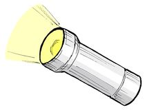 Metallic flashlight Stock Images