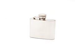 Metallic flask isolated on white Stock Image