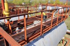 Metallic flooring  deck on cylinder tank Stock Photo
