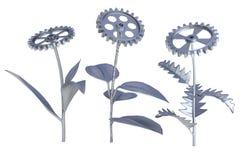 Metallic flowers. Metallic plants. Isolated. Hi-res 3d rendering Royalty Free Stock Photos
