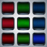 Metallic fluorescent buttons Stock Images