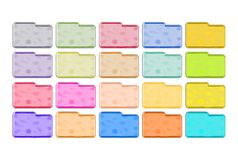 Metallic Folders Icons. Set of metallic folders icons in different colors Royalty Free Stock Images